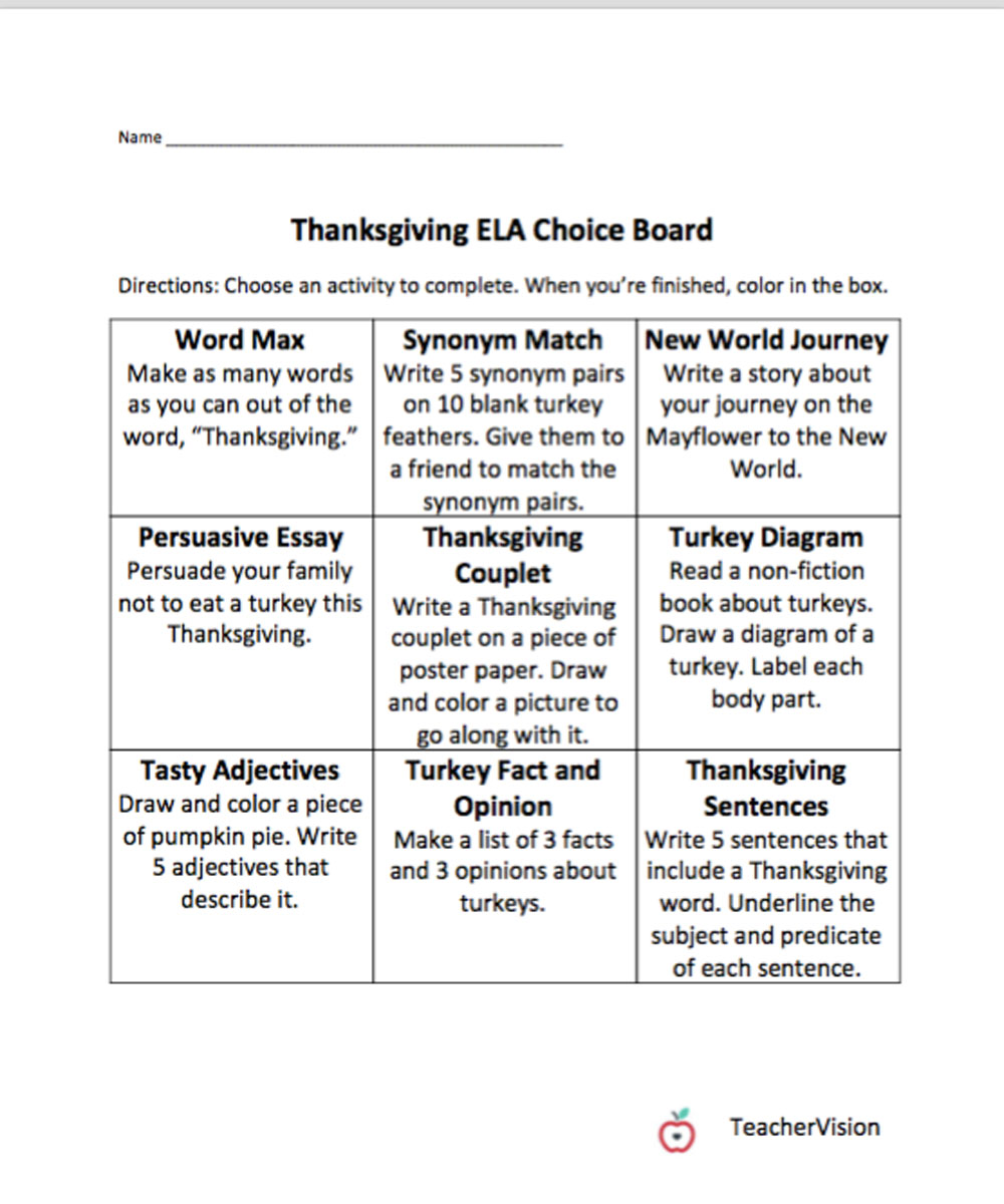 hight resolution of Thanksgiving Themed Choice Board - TeacherVision