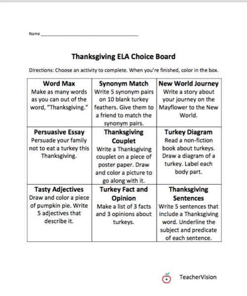 small resolution of Thanksgiving Themed Choice Board - TeacherVision