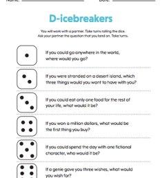 Rolling A Dice Icebreaker Activity - TeacherVision [ 1308 x 1000 Pixel ]