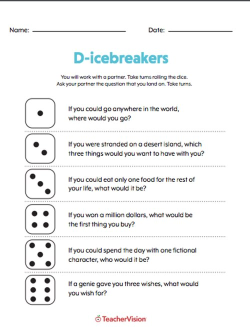 small resolution of Rolling A Dice Icebreaker Activity - TeacherVision