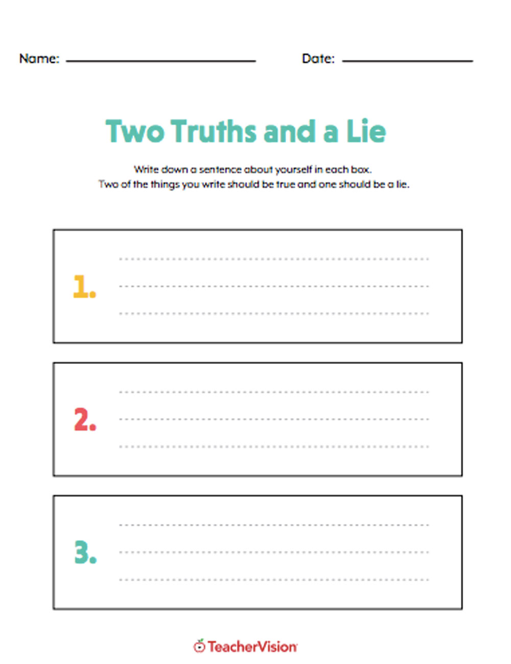 hight resolution of Two Truths And A Lie Icebreaker - TeacherVision