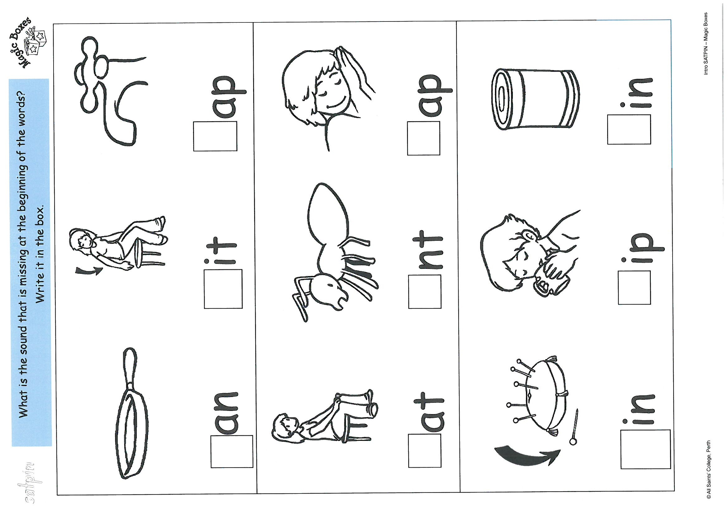 Satpin Written Activity Sheets