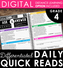 Daily Reading Warm-Ups {Differentiated} 4th GRADE (with DISTANCE LEARNING  option)   Teaching and Tapas [ 1082 x 1058 Pixel ]