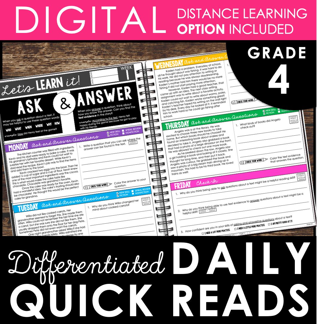 hight resolution of Daily Reading Warm-Ups {Differentiated} 4th GRADE (with DISTANCE LEARNING  option)   Teaching and Tapas