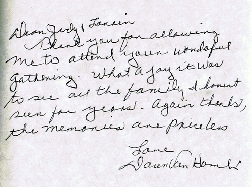 Note from Dawn Kent in guest book for Lorain Berg and