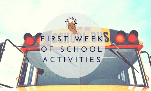 School bus with First Week of School Activities Overlay