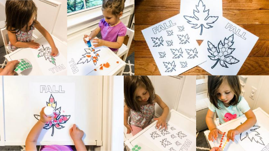 Fall Leaf Fine Motor and Coloring Printable Activity for Toddlers