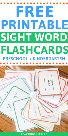 Use these free printable sight word flashcards to help your preschooler or kindergartener learn to read. DIY these cards by laminating & linking them together