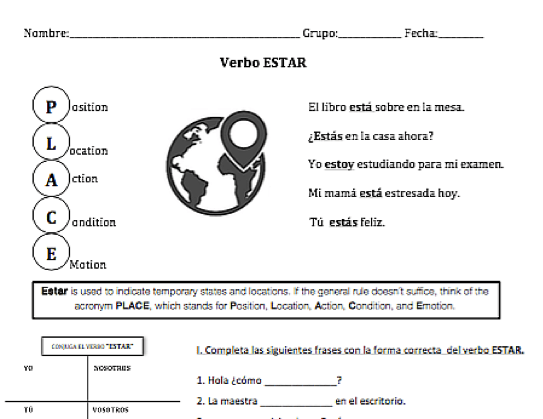 Verbo Estar A Practice Worksheet Teachingrealspanish
