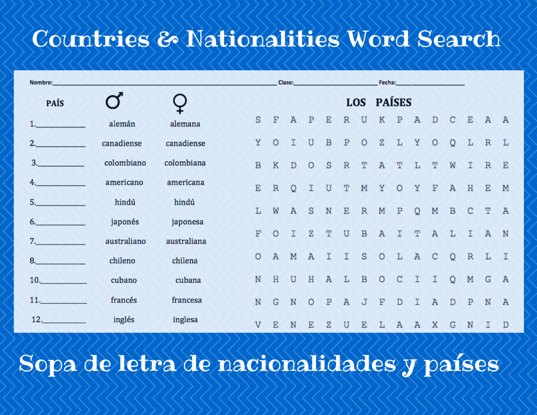 Countries Amp Nationalities Word Search