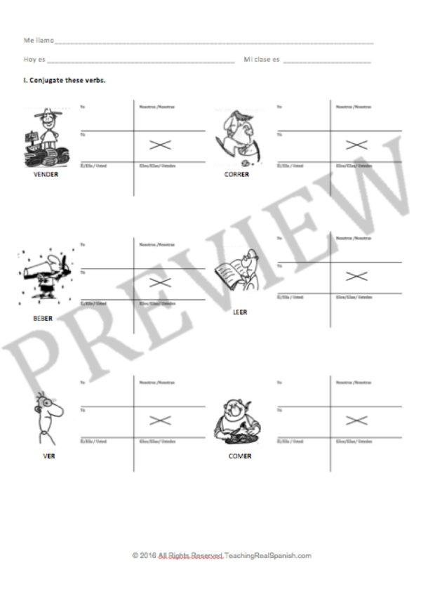 -ER Verb Worksheets: Regular, Simple Present