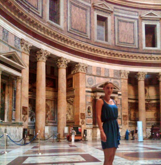 Tara at the Pantheon in Italy: Experiencing Rome while teaching about U.S. culture.