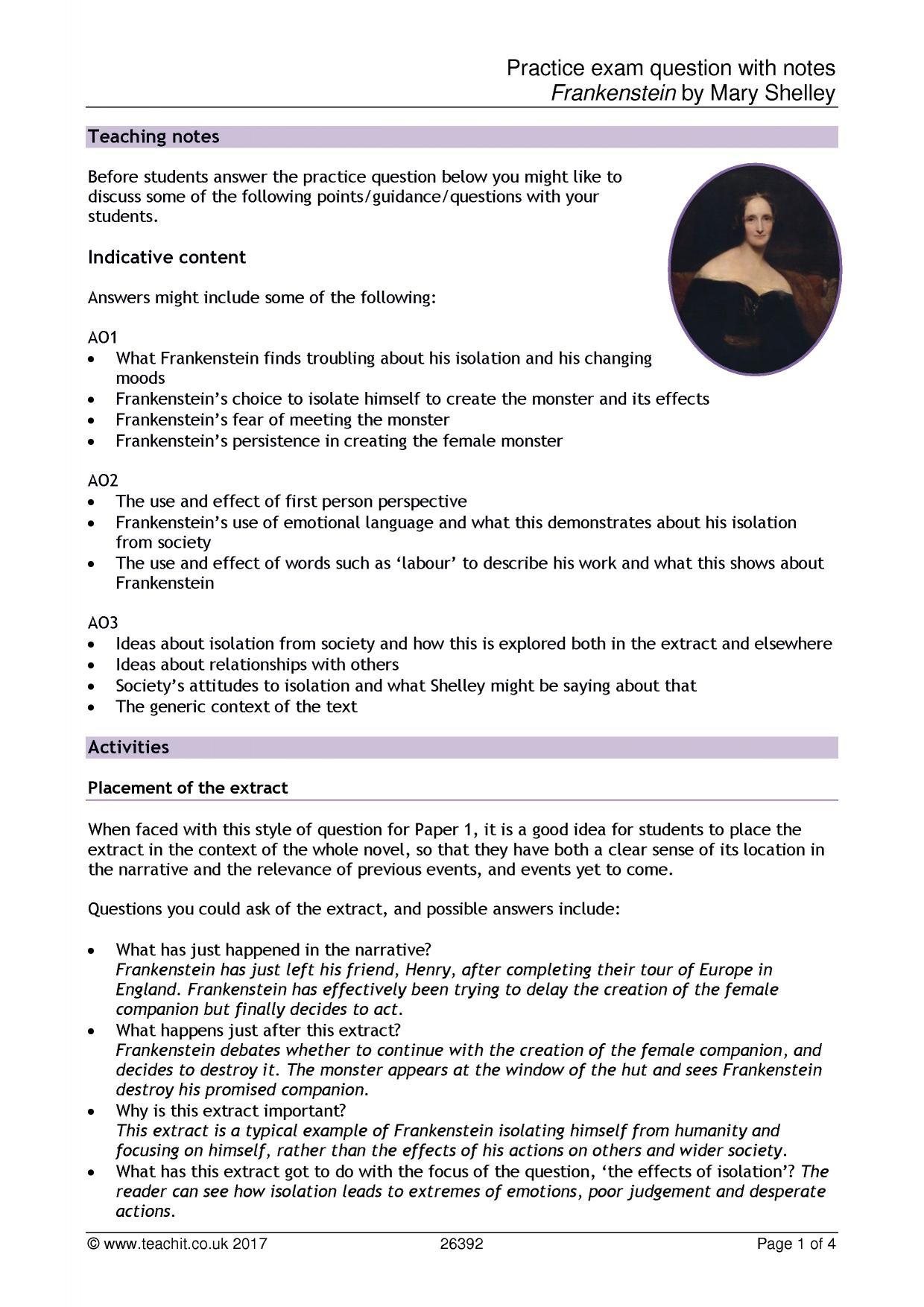 Frankenstein Essay Ideas Frankenstein By Mary Shelley Ks3 Resources