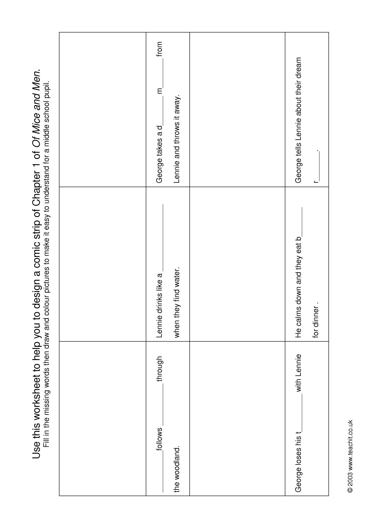 Of Mice And Men Character Chart Worksheet