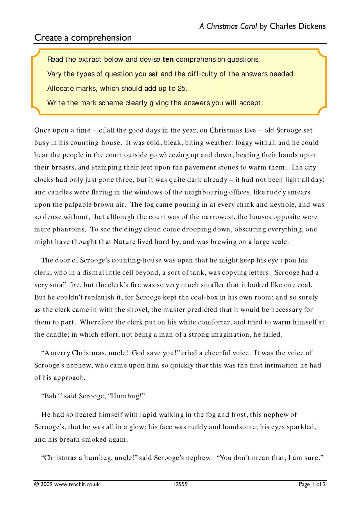 A Christmas Carol Worksheet Answers