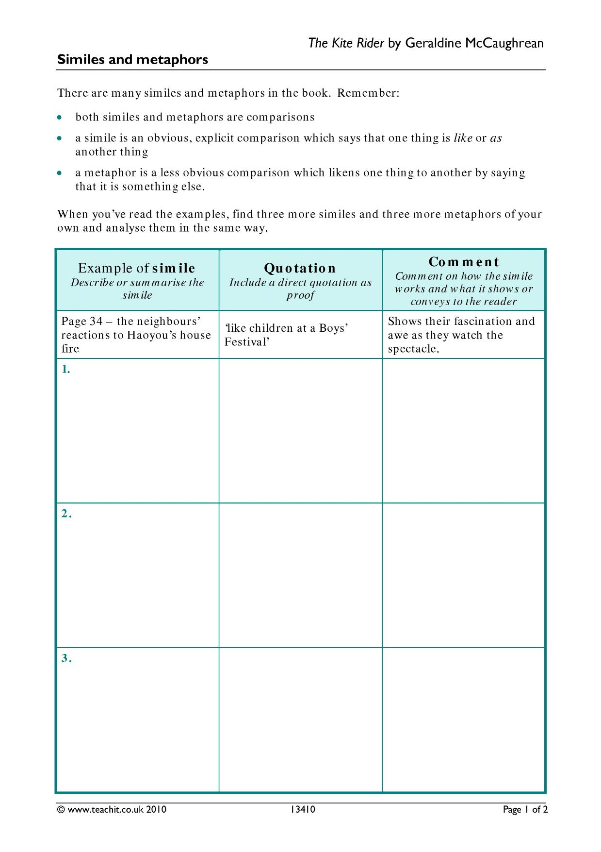 Worksheet Simile And Metaphor Worksheets Worksheet Fun