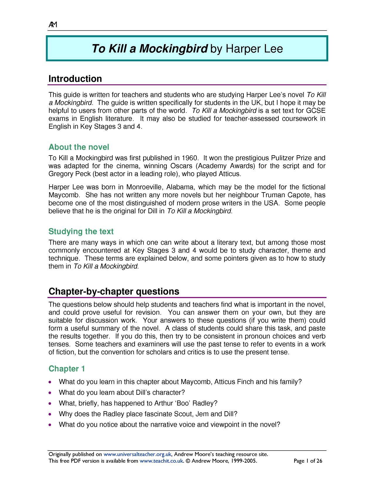worksheet. To Kill A Mockingbird Worksheet Answers