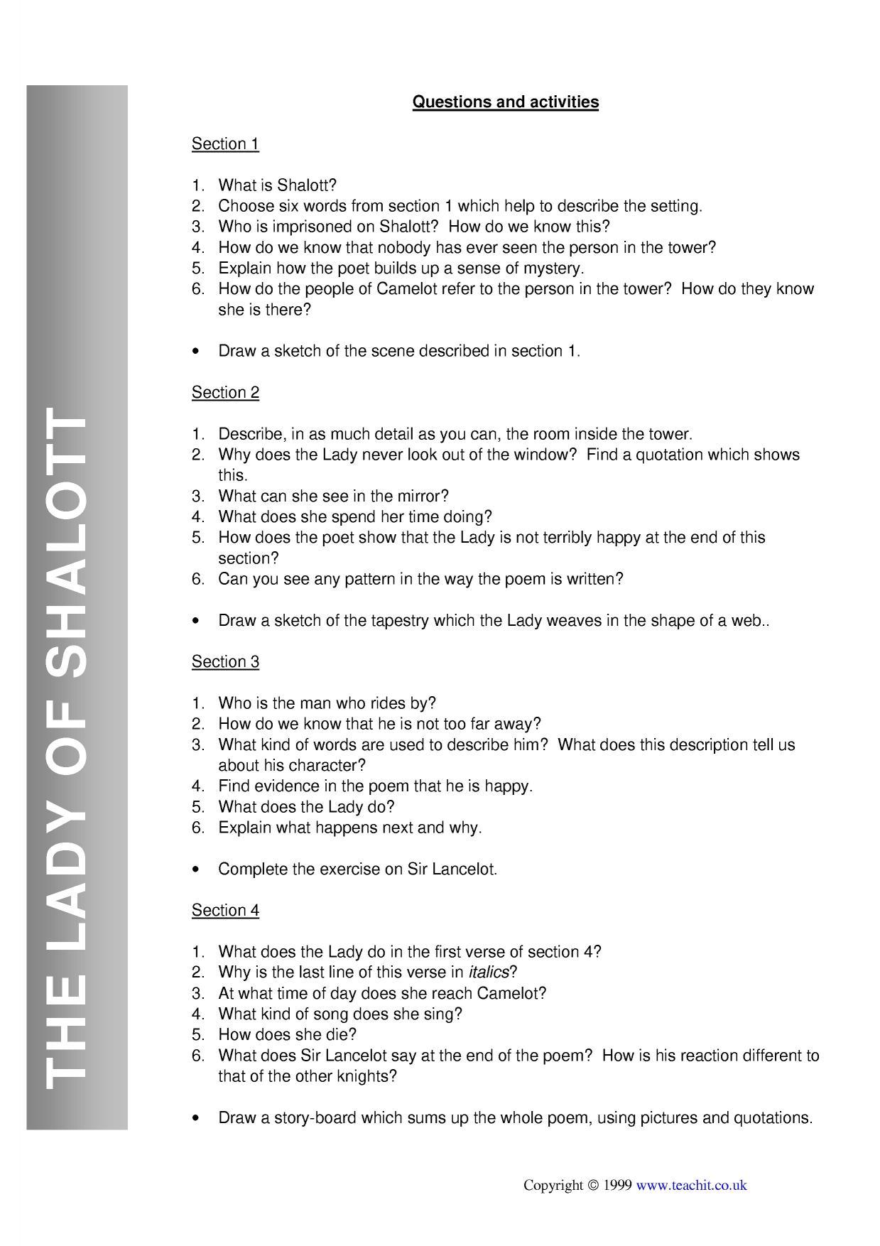 Lady Of Shalott Essay Topics