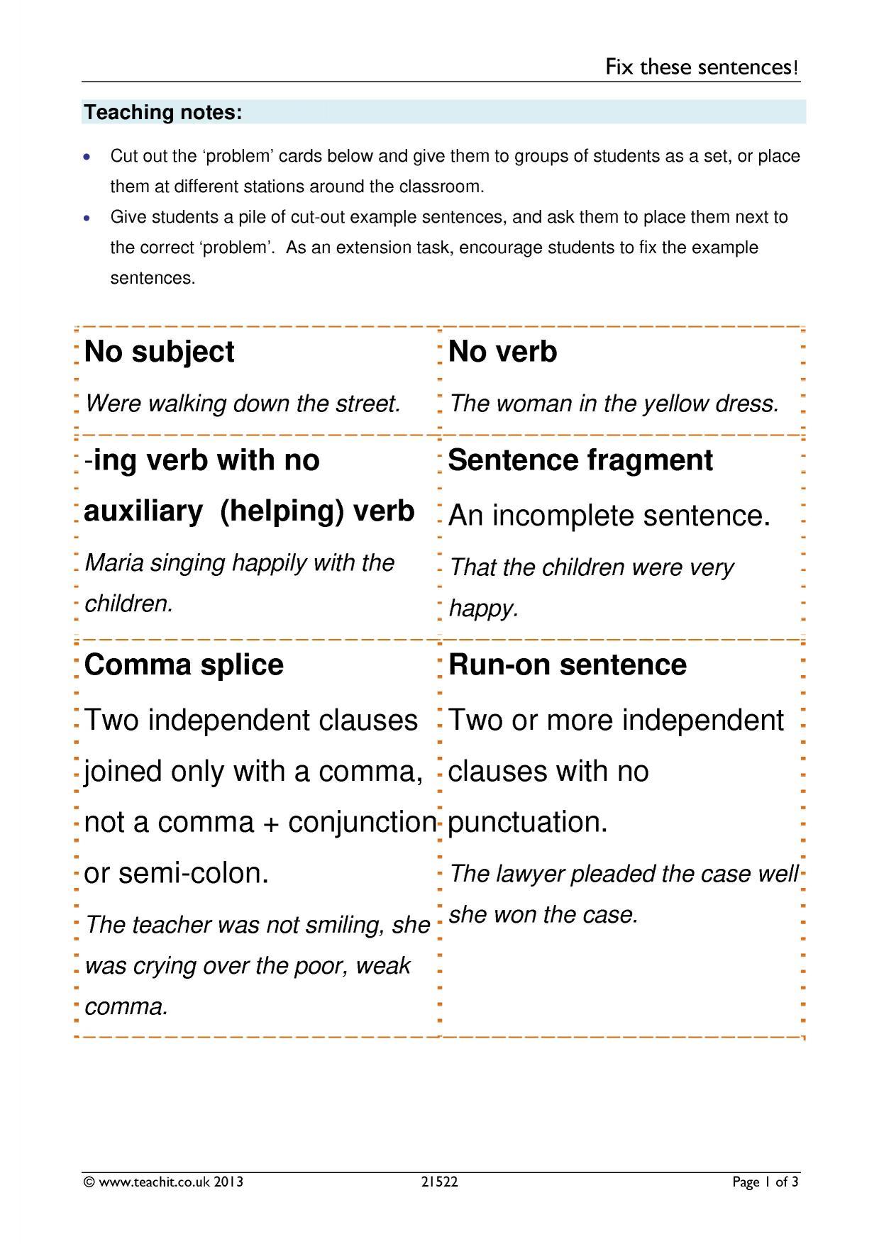 Fix These Sentences