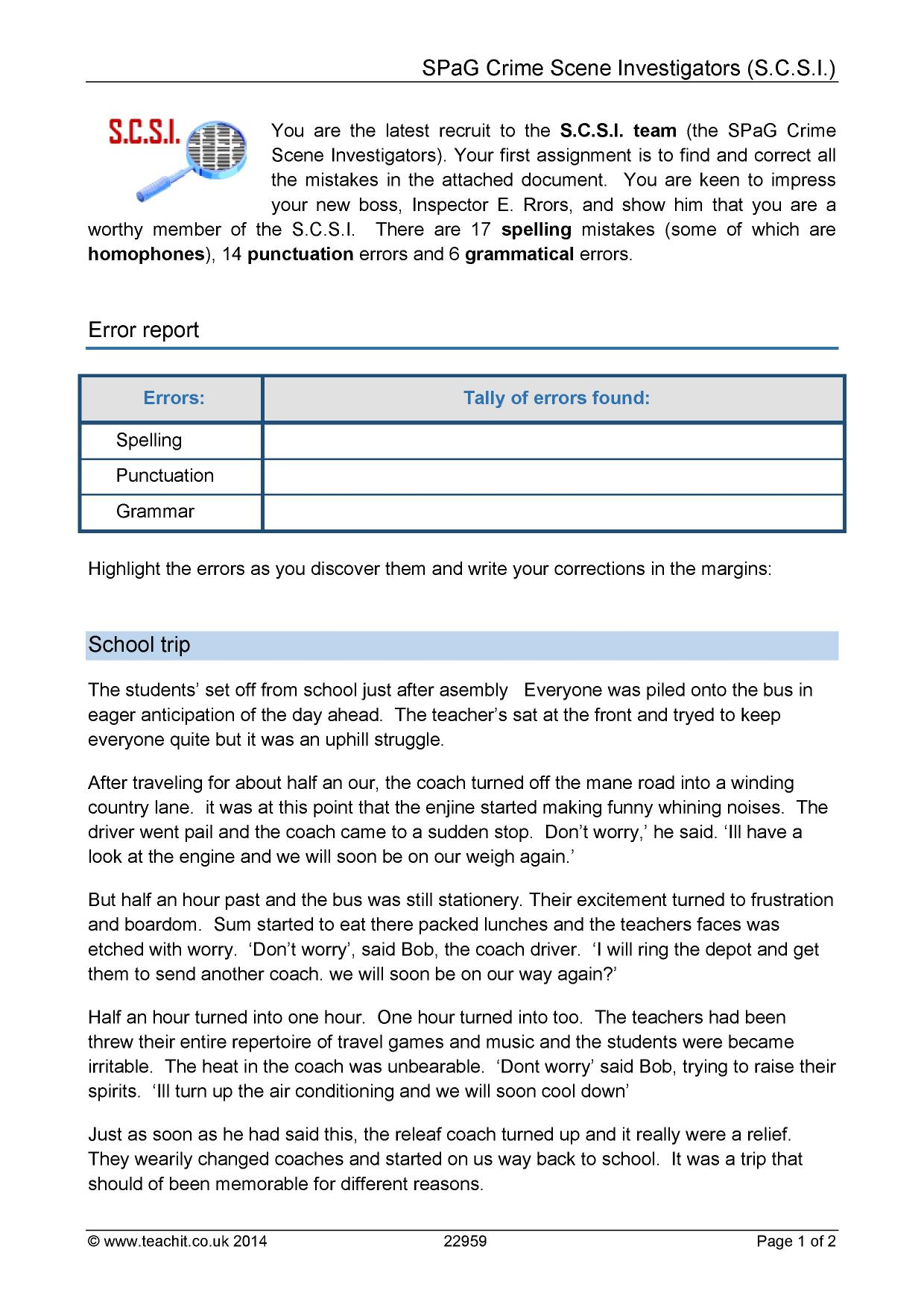Proofreading Worksheet Ks2