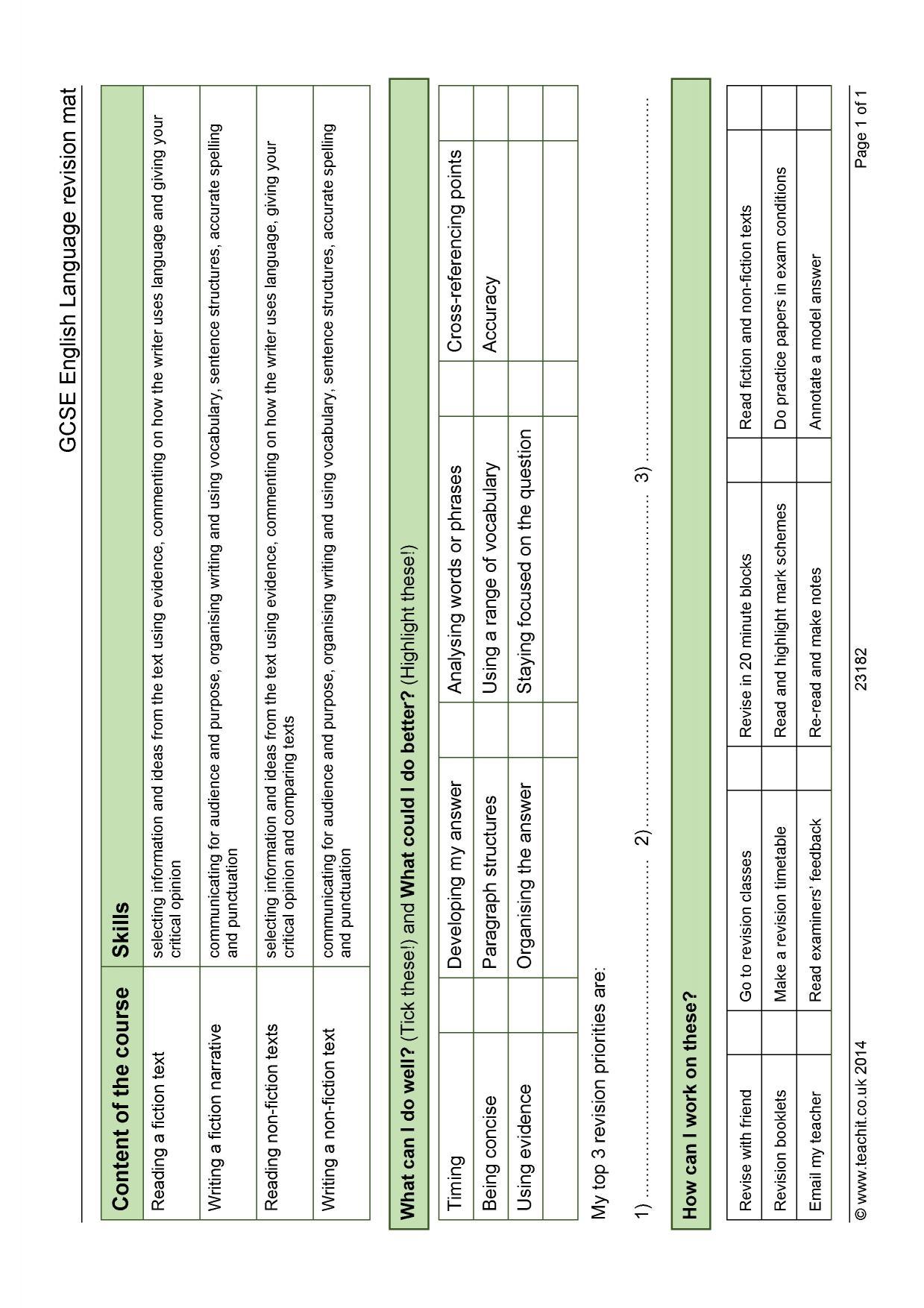 Gcse English Language Revision Mat