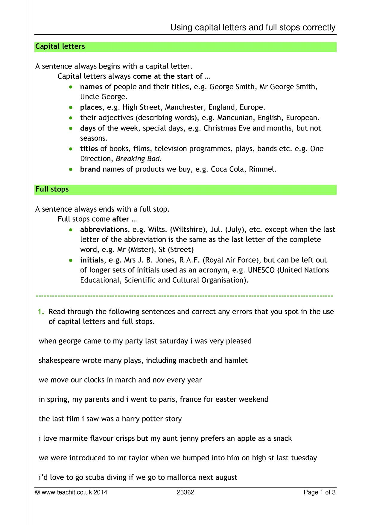 Punctuation Worksheet Capital Letters And Full Stops