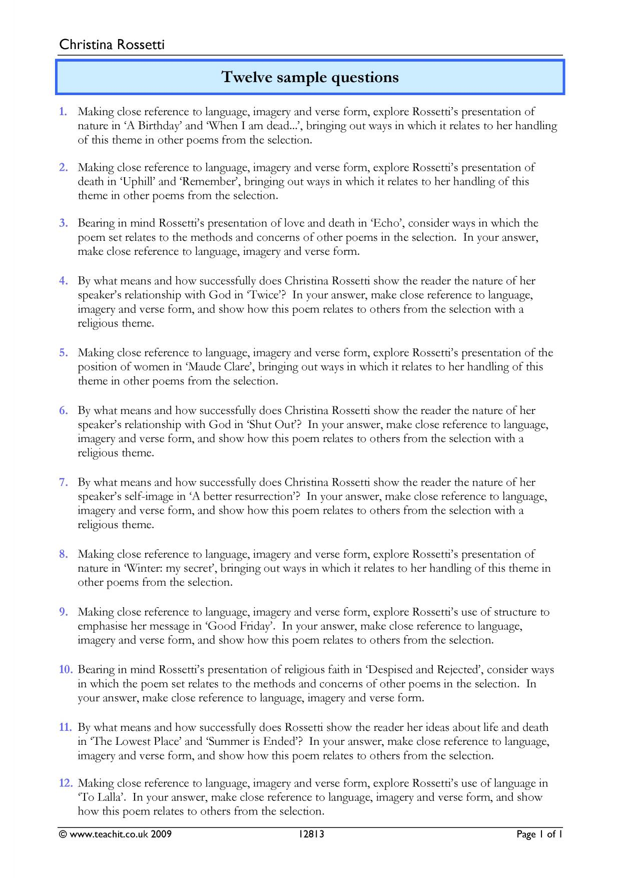 Twelve Sample Questions