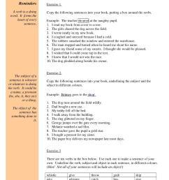 Grammar: subject verb object worksheet [ 1754 x 1239 Pixel ]