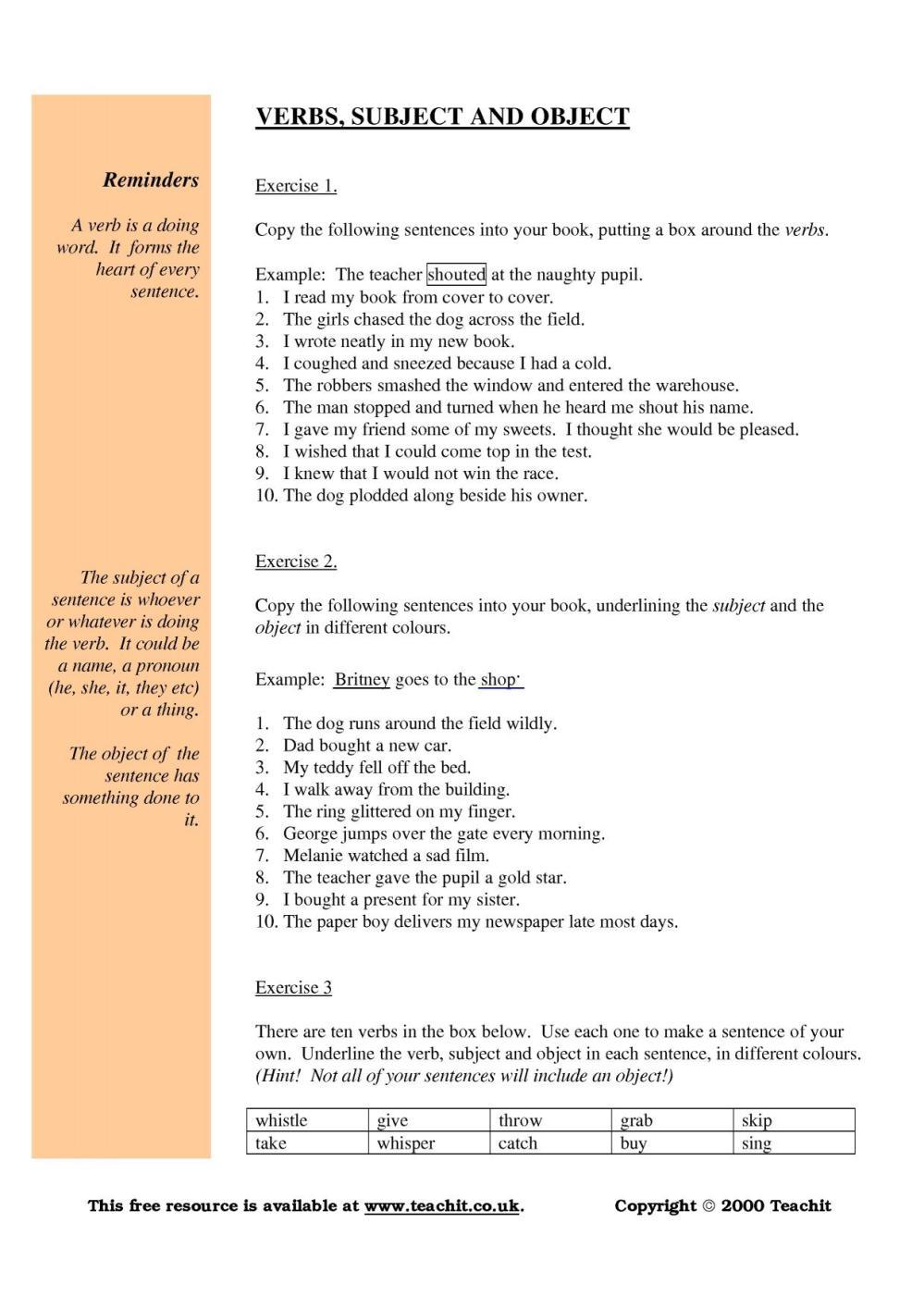 medium resolution of Grammar: subject verb object worksheet