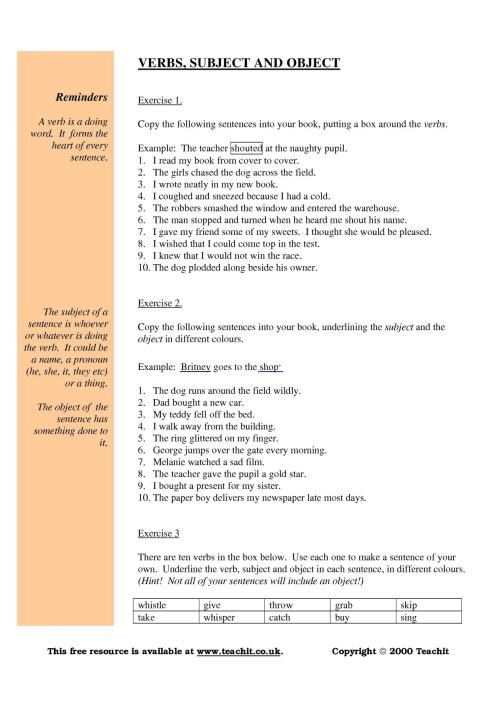 small resolution of Grammar: subject verb object worksheet