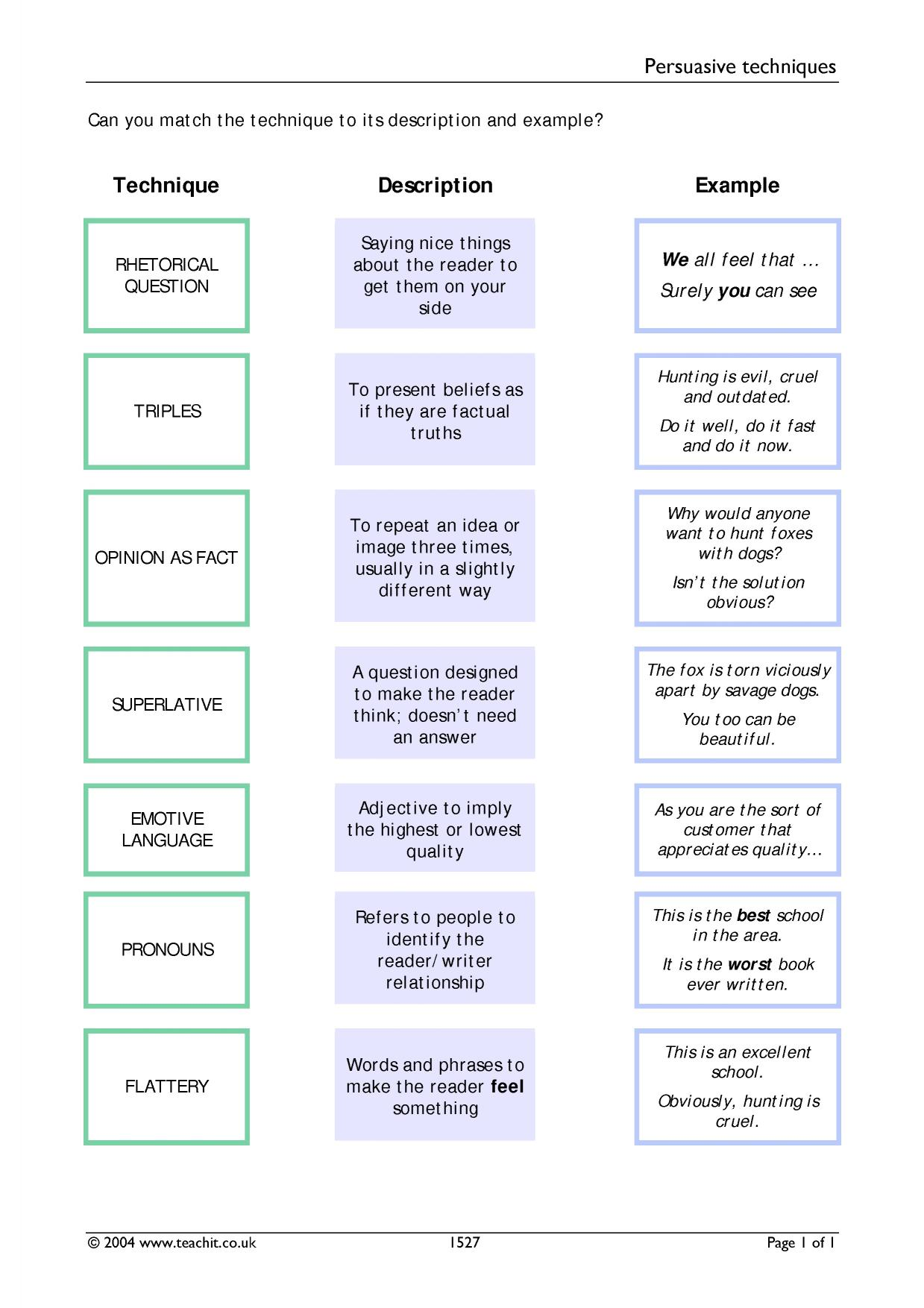 hight resolution of Persuasive Devices Worksheets   Printable Worksheets and Activities for  Teachers