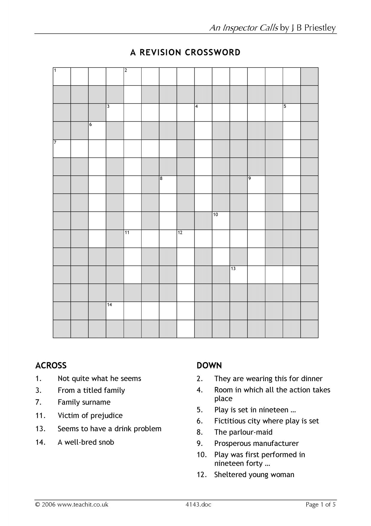 Getting To Know The Play Crossword And Wordsearch