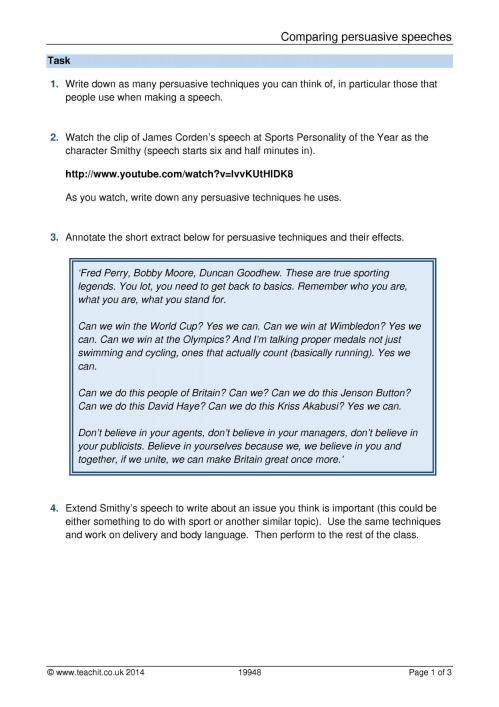 small resolution of KS3 Writing   Argument and persuasive writing   Teachit English