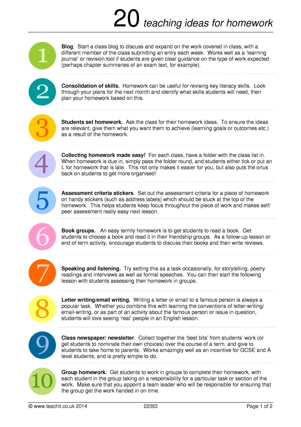 20 Teaching Ideas For Homework