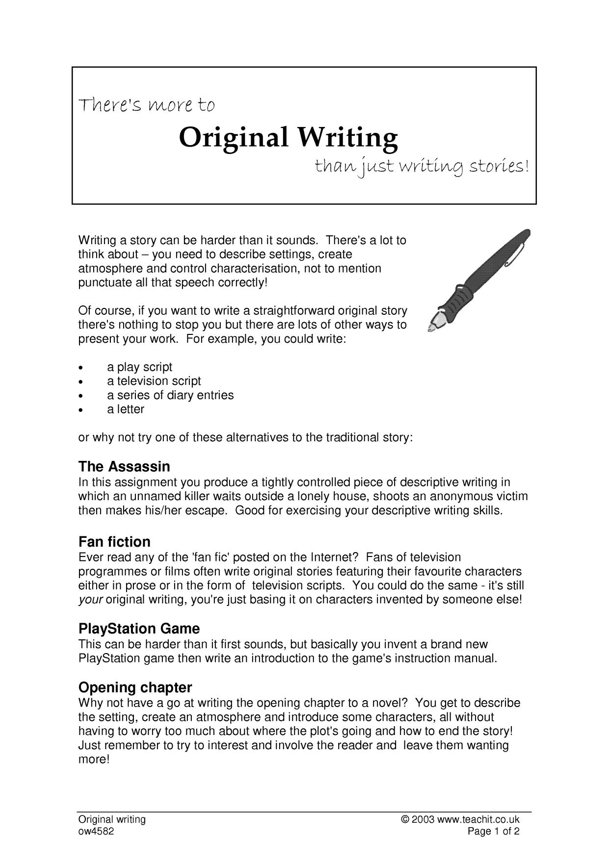 There S More To Original Writing Than Just Writing Stories