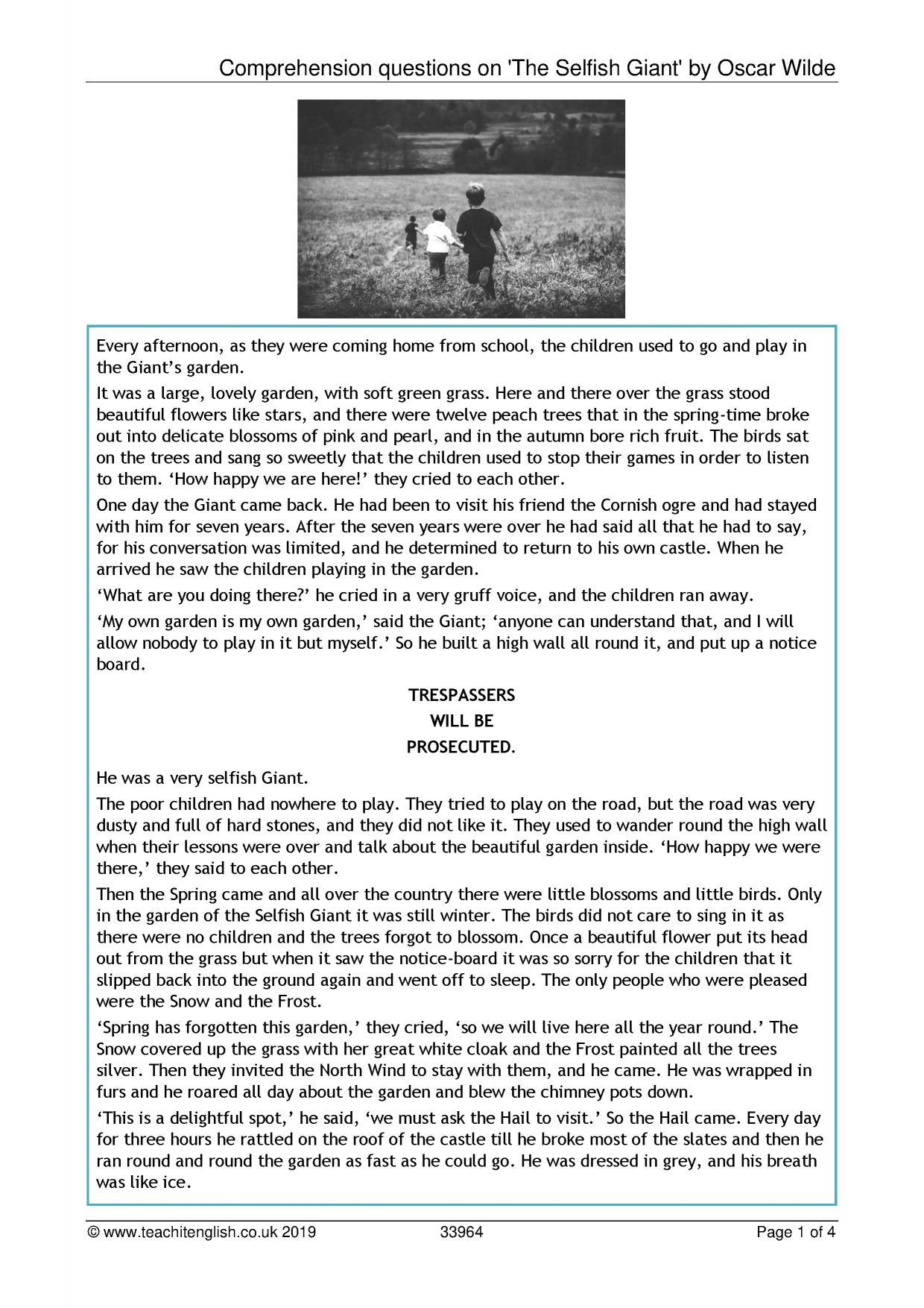 Comprehension Passages For Grade 7 Igcse