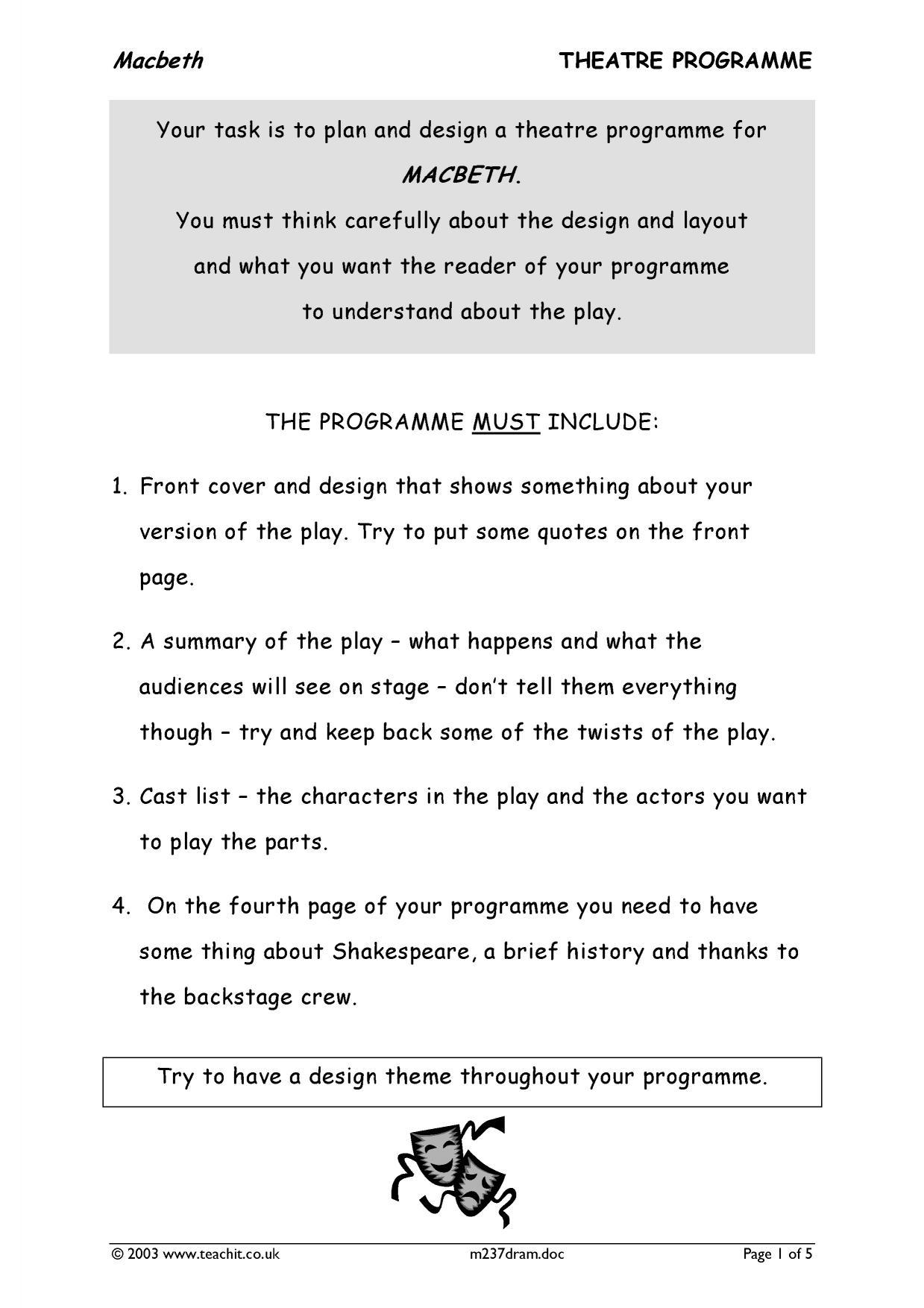 Drama Set Design Worksheets