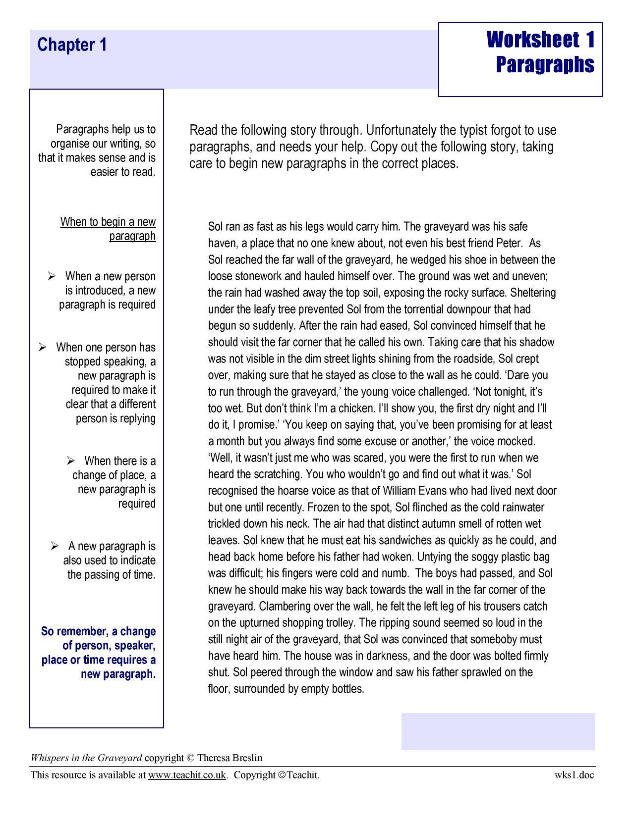 Worksheets Writing Paragraphs Worksheet Waytoohuman Free