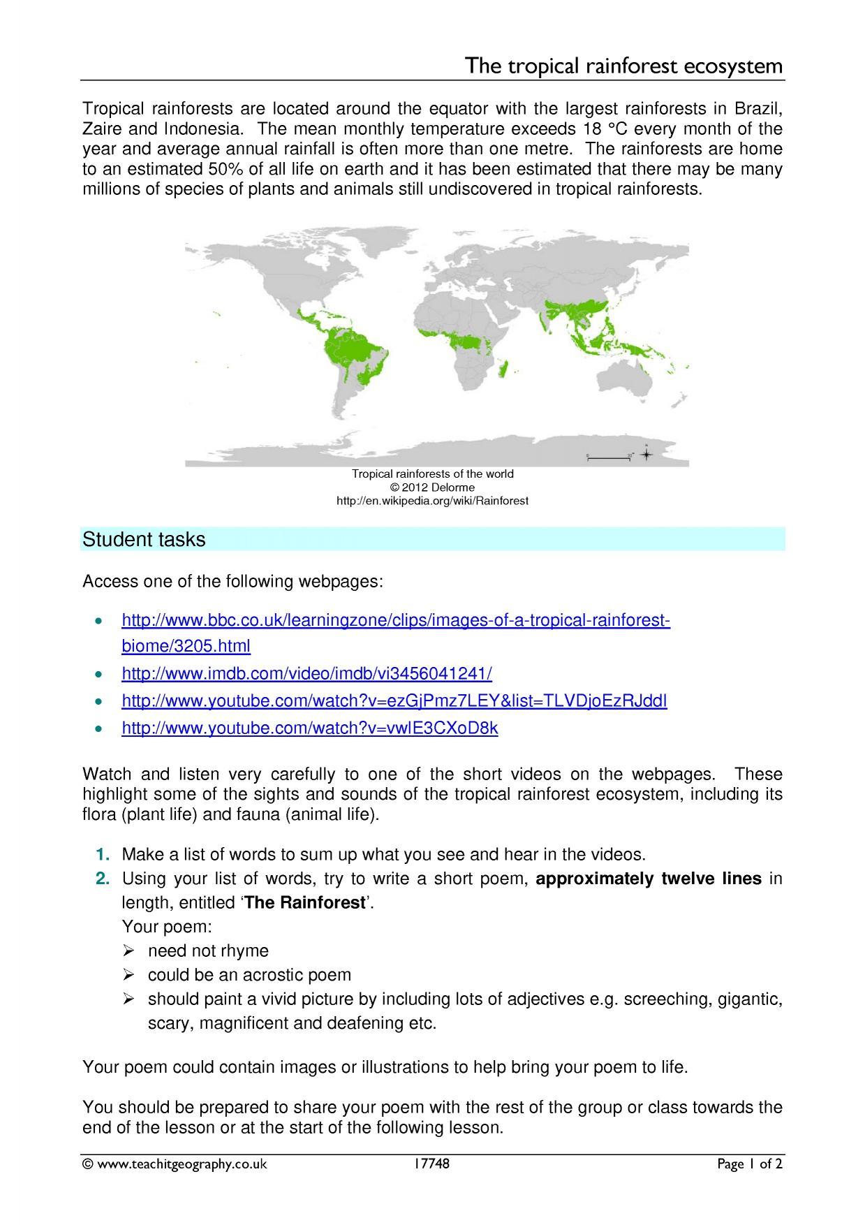 Biome Homework Worksheet