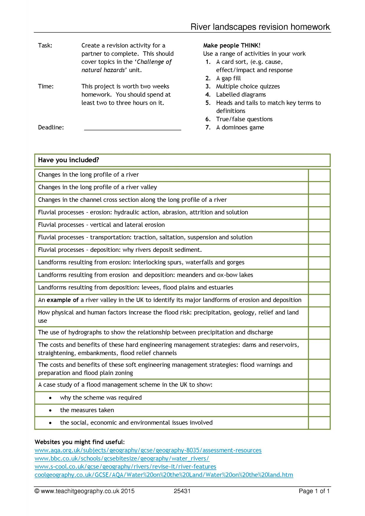 River Basin Activity Answer Key