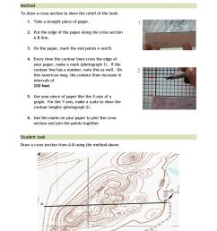 cross section geography how to draw a cross section in geography cross section in geography drawing a cross section using contour lines ks3  [ 1240 x 1754 Pixel ]