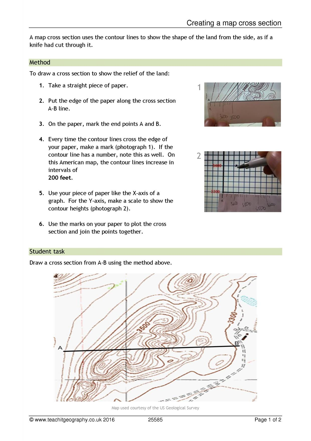 hight resolution of cross section geography how to draw a cross section in geography cross section in geography drawing a cross section using contour lines ks3
