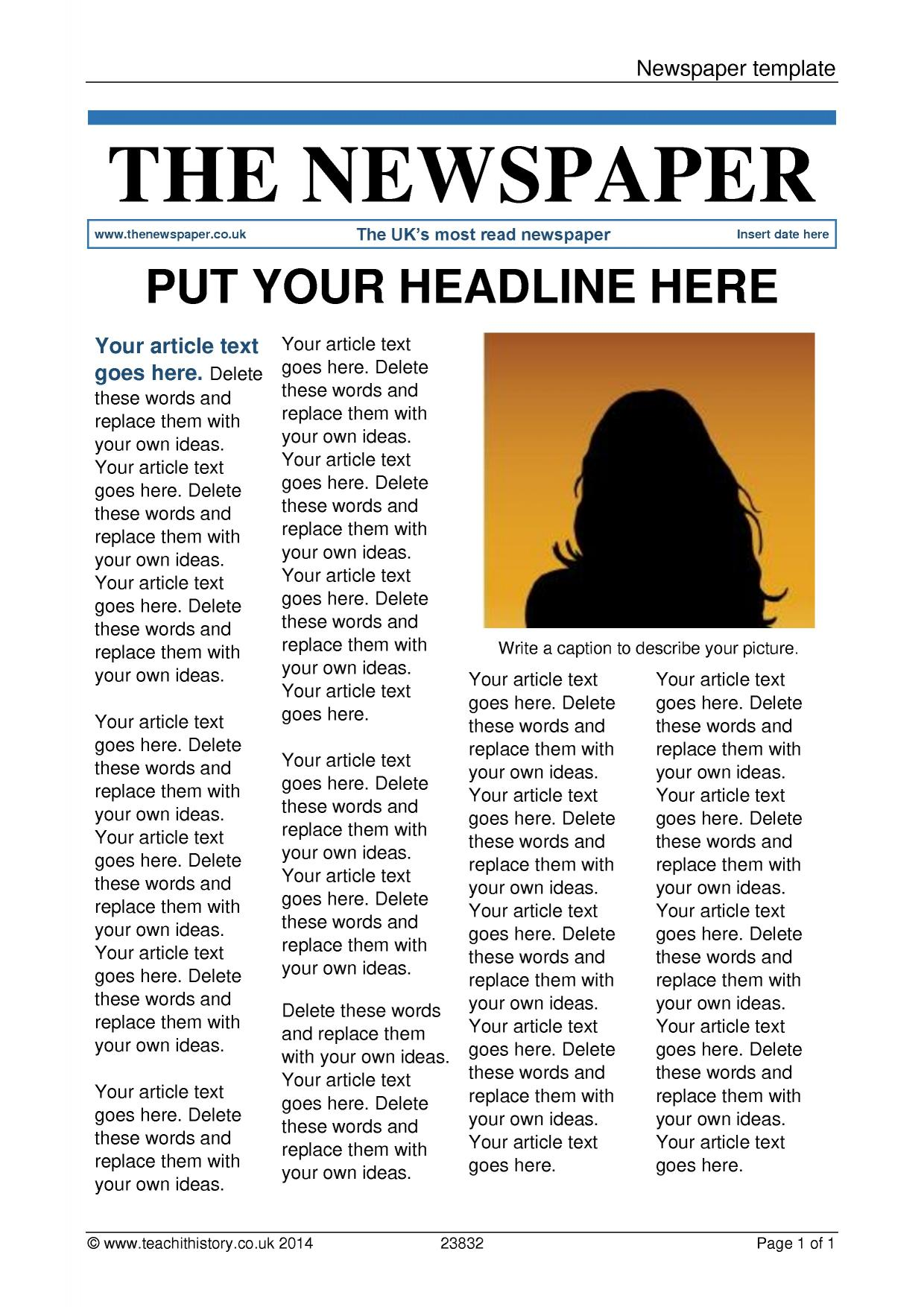 free newspaper template for word