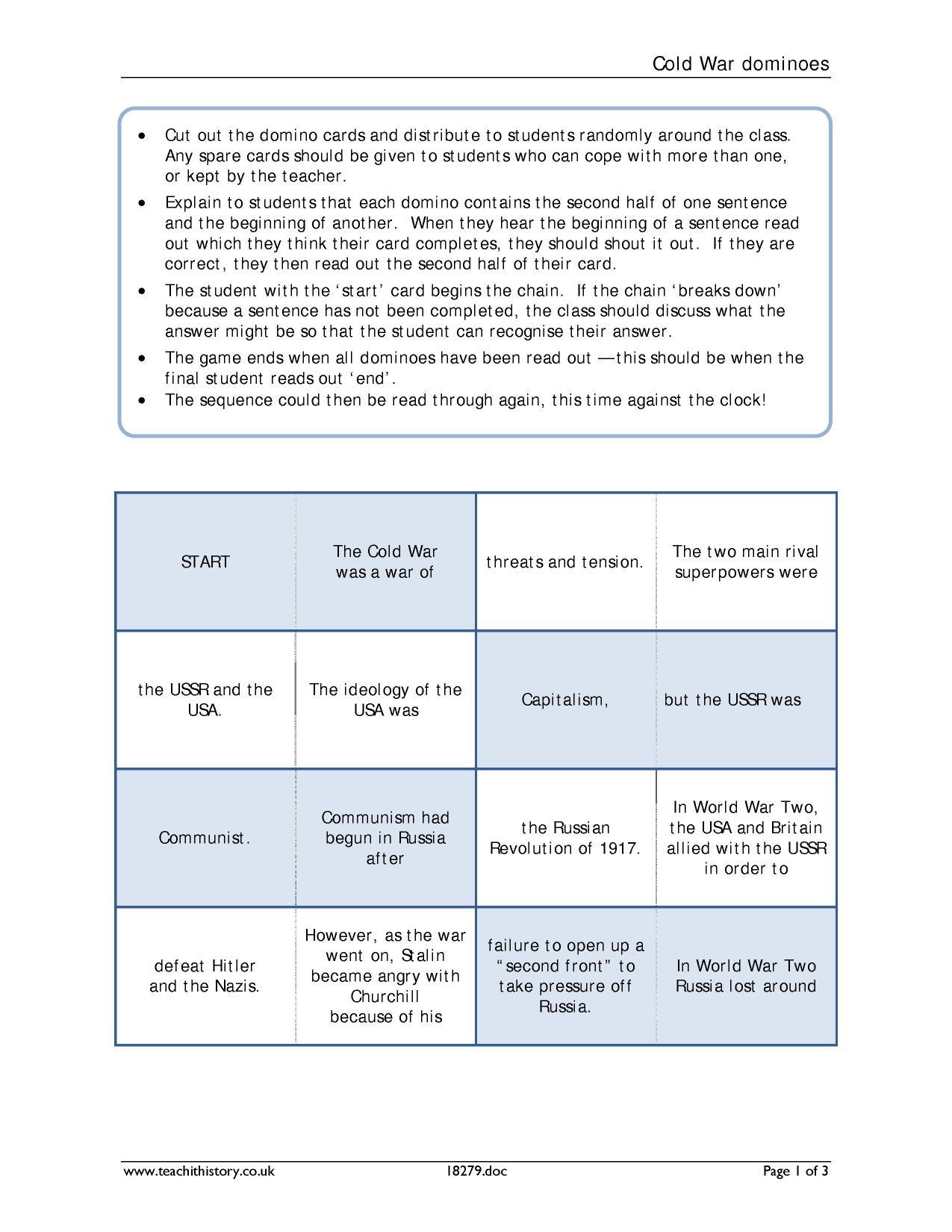 Worksheet Cold War Worksheets Worksheet Fun Worksheet