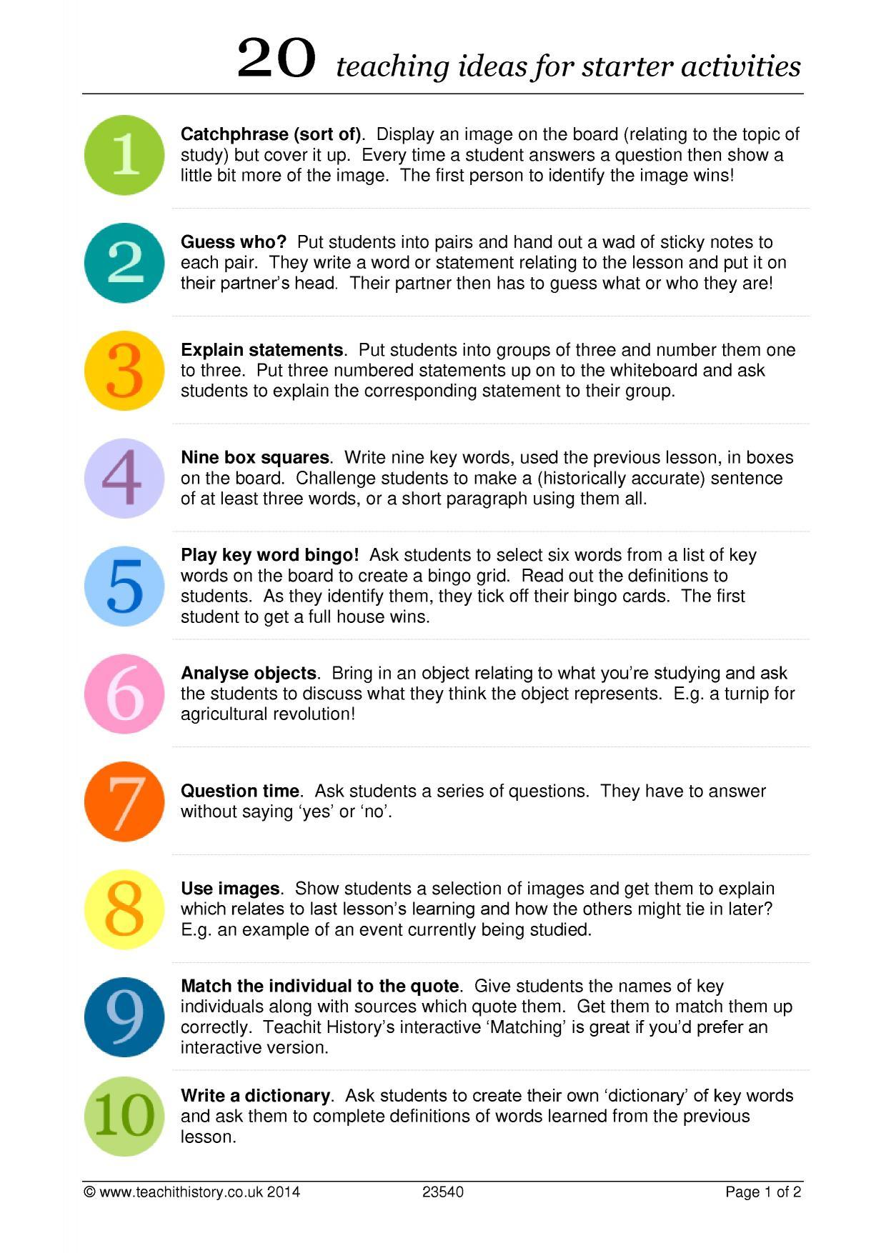 20 Teaching Ideas For Starter Activities