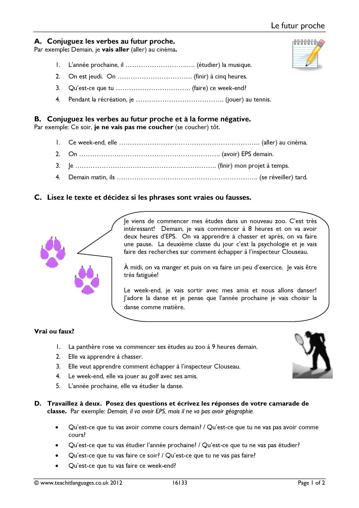 hight resolution of French Grammar Worksheet   Printable Worksheets and Activities for  Teachers