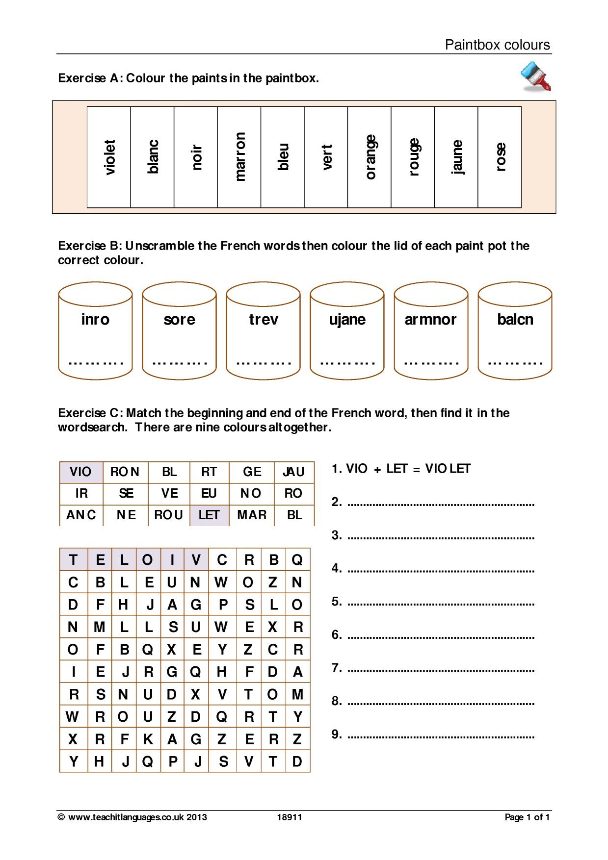 French Wordsearch Ks3