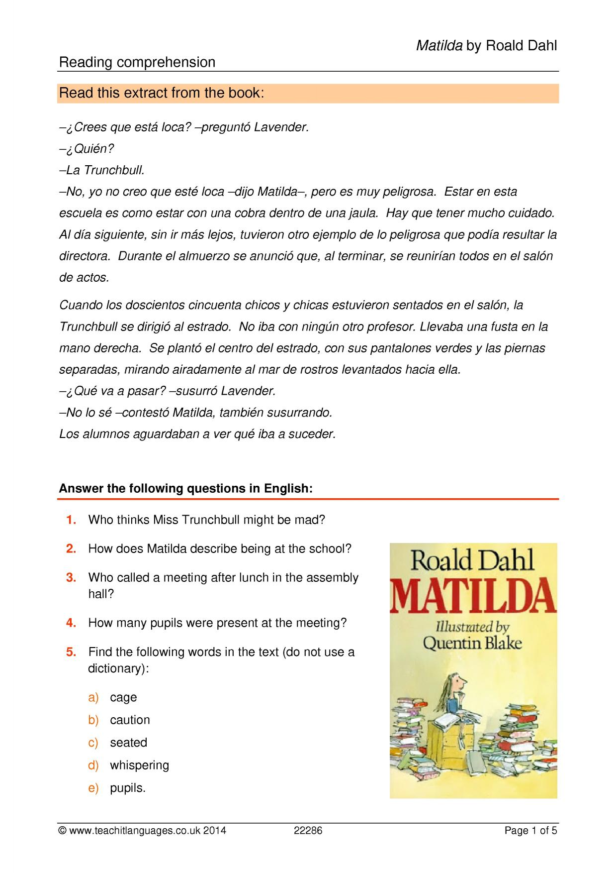 Roald Dahl Comprehension Tasks