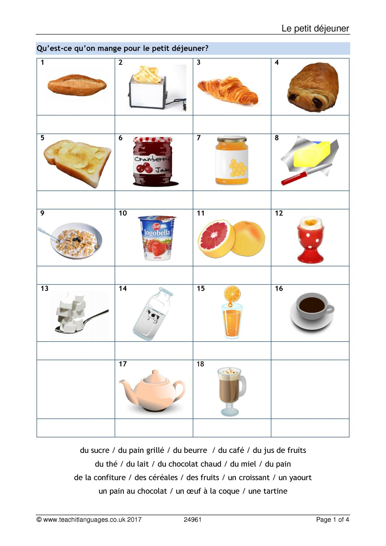French Fruits Vocabulary Worksheet