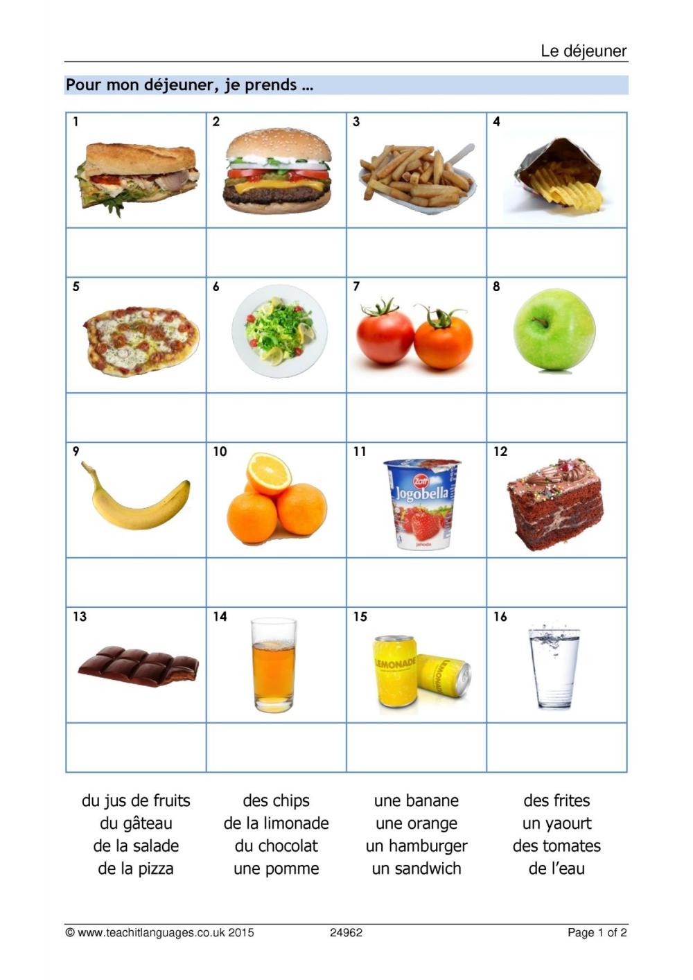 medium resolution of KS3 French   Food and drink   Teachit Languages